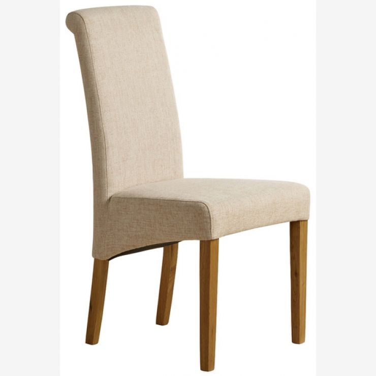 Ordinaire Scroll Back Plain Beige Fabric Chair With Solid Oak Legs   Image 1 Express  Delivery