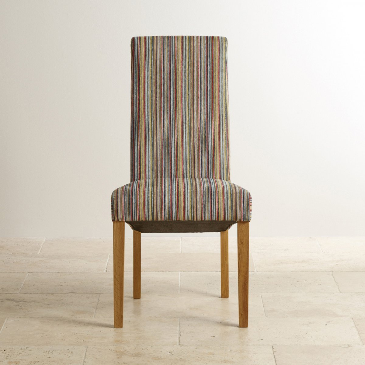 Scroll Back Striped Multi Coloured Fabric Chair With Solid Oak Legs