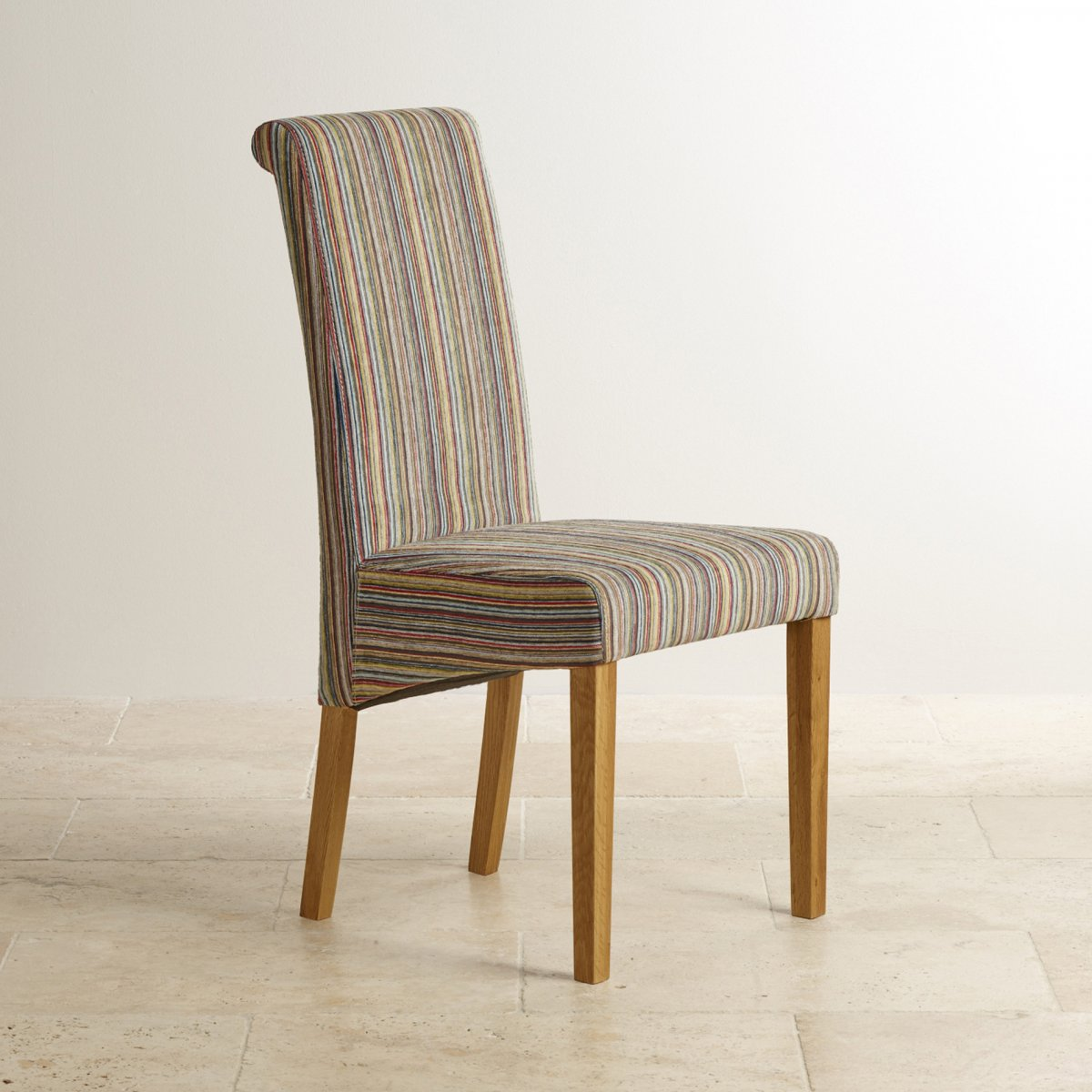 Scroll Back Dining Chair In Striped Multicoloured Fabric