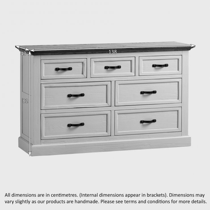 seychelles shabby chic painted wide chest of drawers