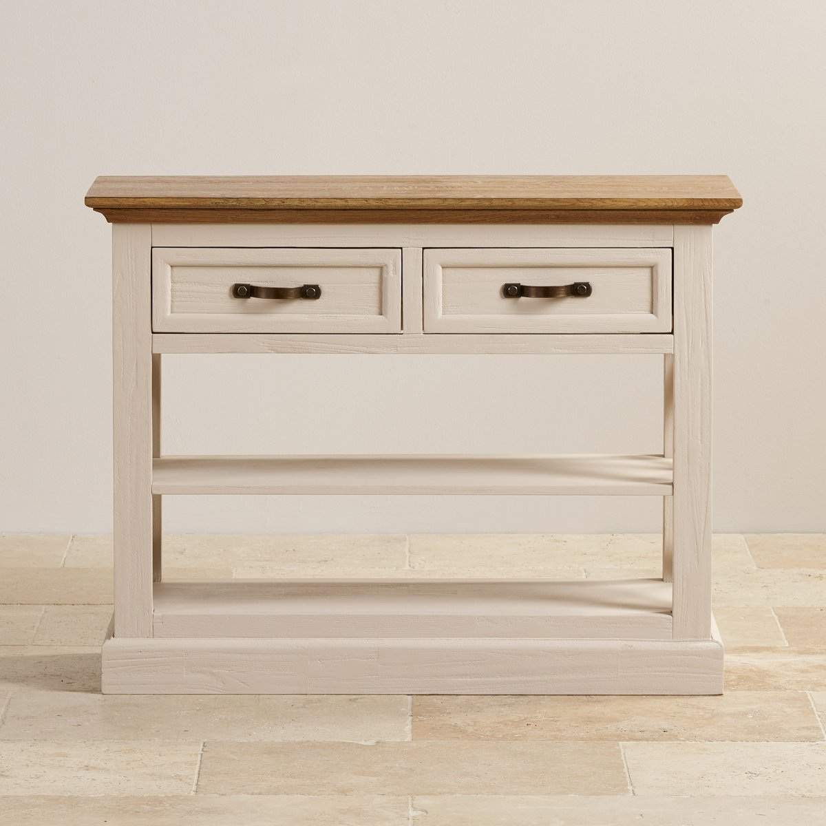 Seychelles shabby chic painted console table brushed oak top for Painted foyer tables