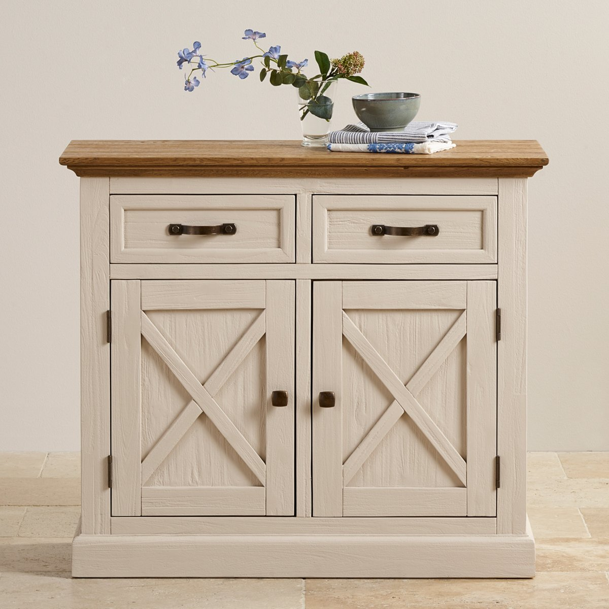 Seychelles shabby chic painted small sideboard brushed for Bad sideboard