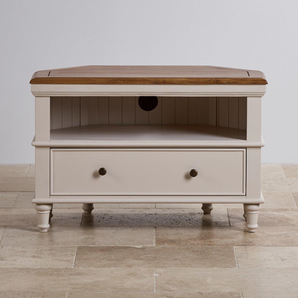 shay corner tv cabinet painted solid oak oak. Black Bedroom Furniture Sets. Home Design Ideas