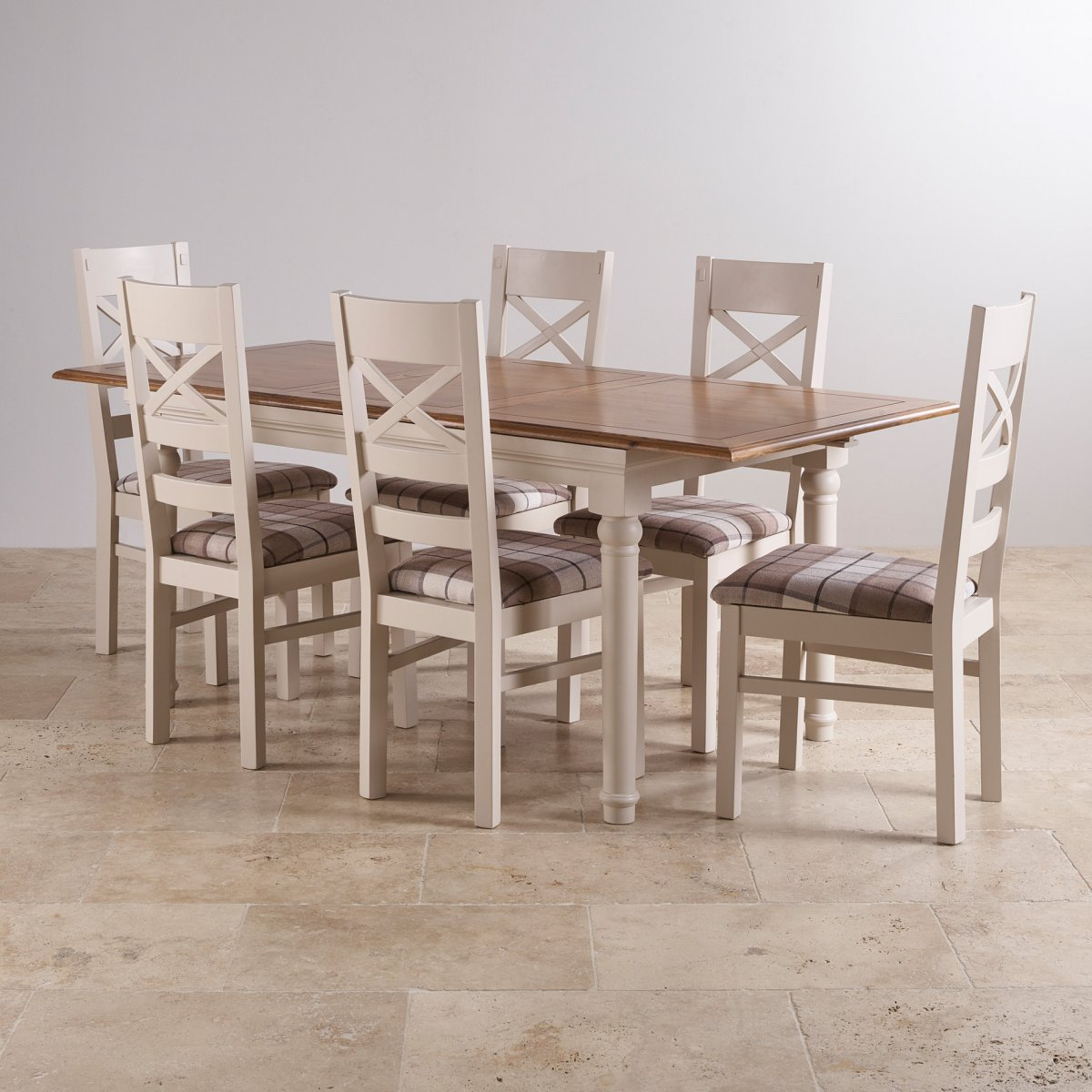 Shay Dining Table Set in Painted Oak + 6 Brown Check Chairs