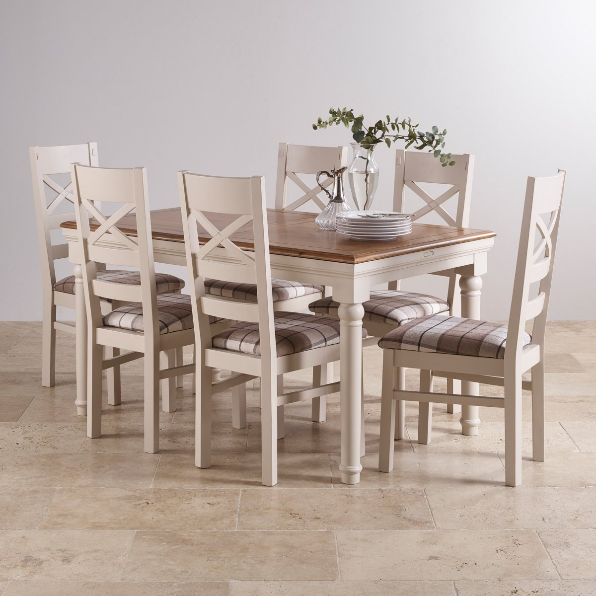 Shay dining table set in painted oak 6 brown check chairs - Extended dining table sets ...