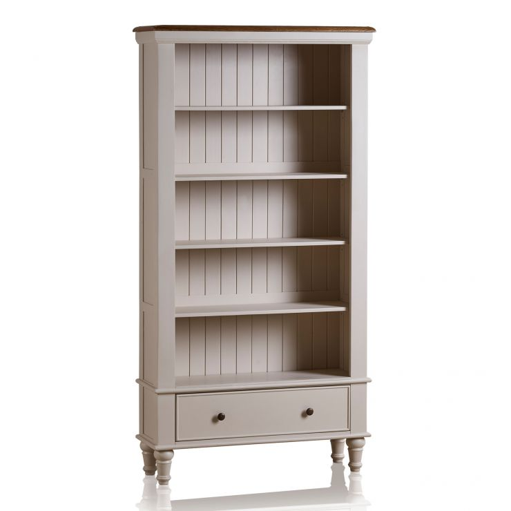 Shay Tall Bookcase Rustic Oak Painted Oak Furniture Land