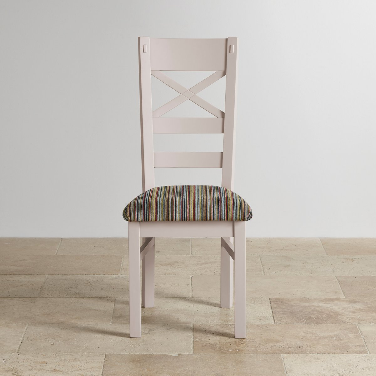 shay painted rustic oak dining chair in multi coloured fabric On multi coloured fabric dining chairs