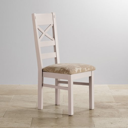 Shay Rustic Solid Oak and Painted and Patterned Beige Fabric Dining Chair