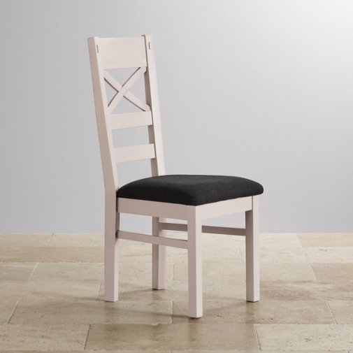 Shay Rustic Solid Oak and Painted and Plain Black Fabric Dining Chair