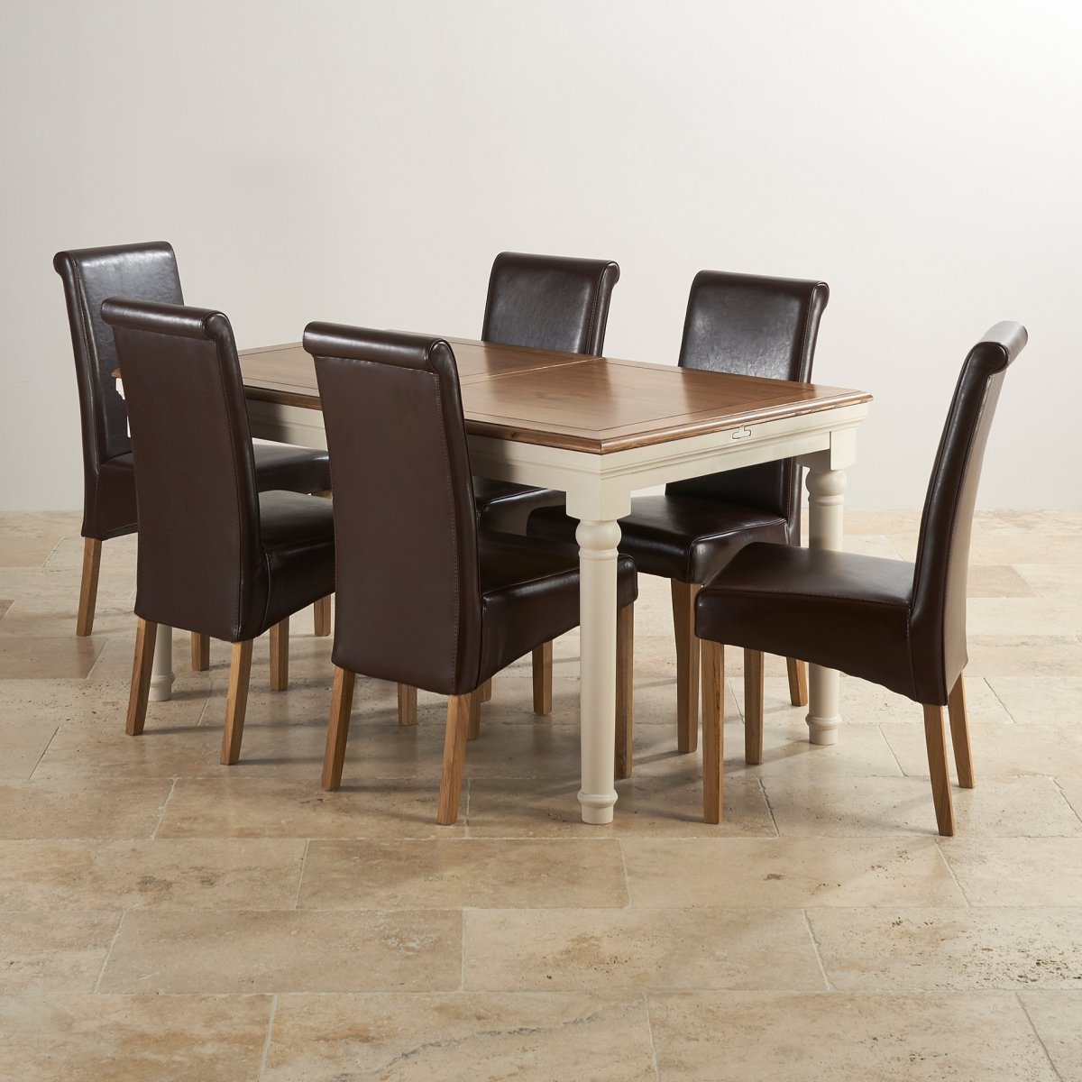 Extendable Dining Set In Rustic Brushed Solid Oak: Shay Extending Dining Table Set