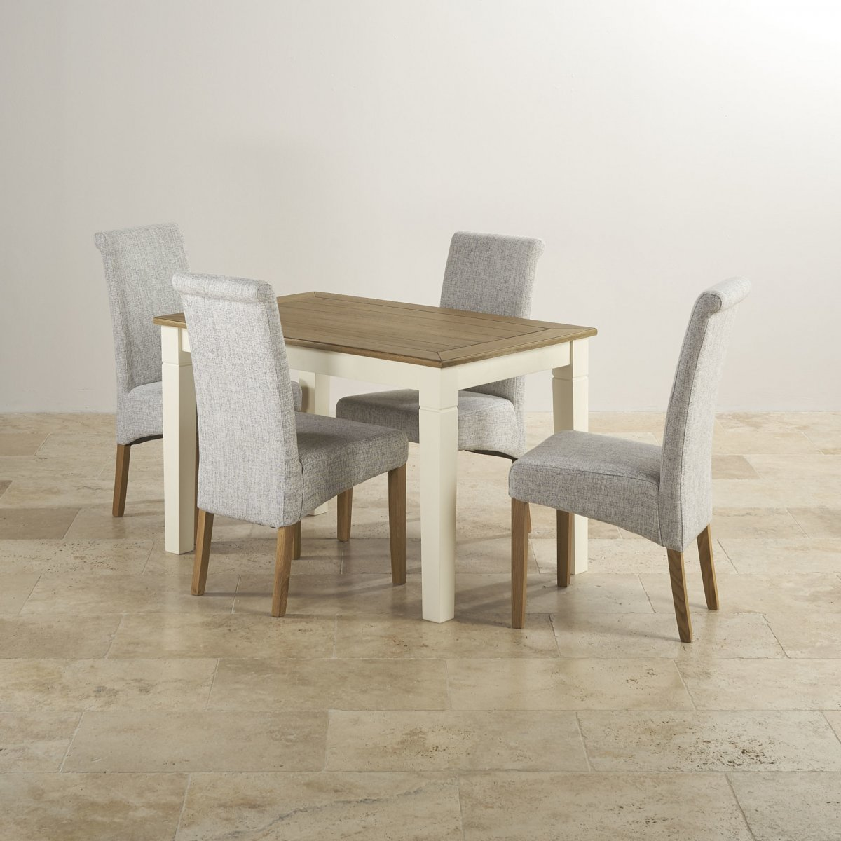 Shutter Small Dining Set with 6 Grey Fabric Chairs