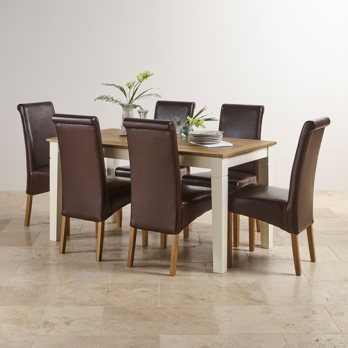 Painted Dining Room Sets: Shutter Cream Painted 5ft Dining Set With 6 Brown Leather
