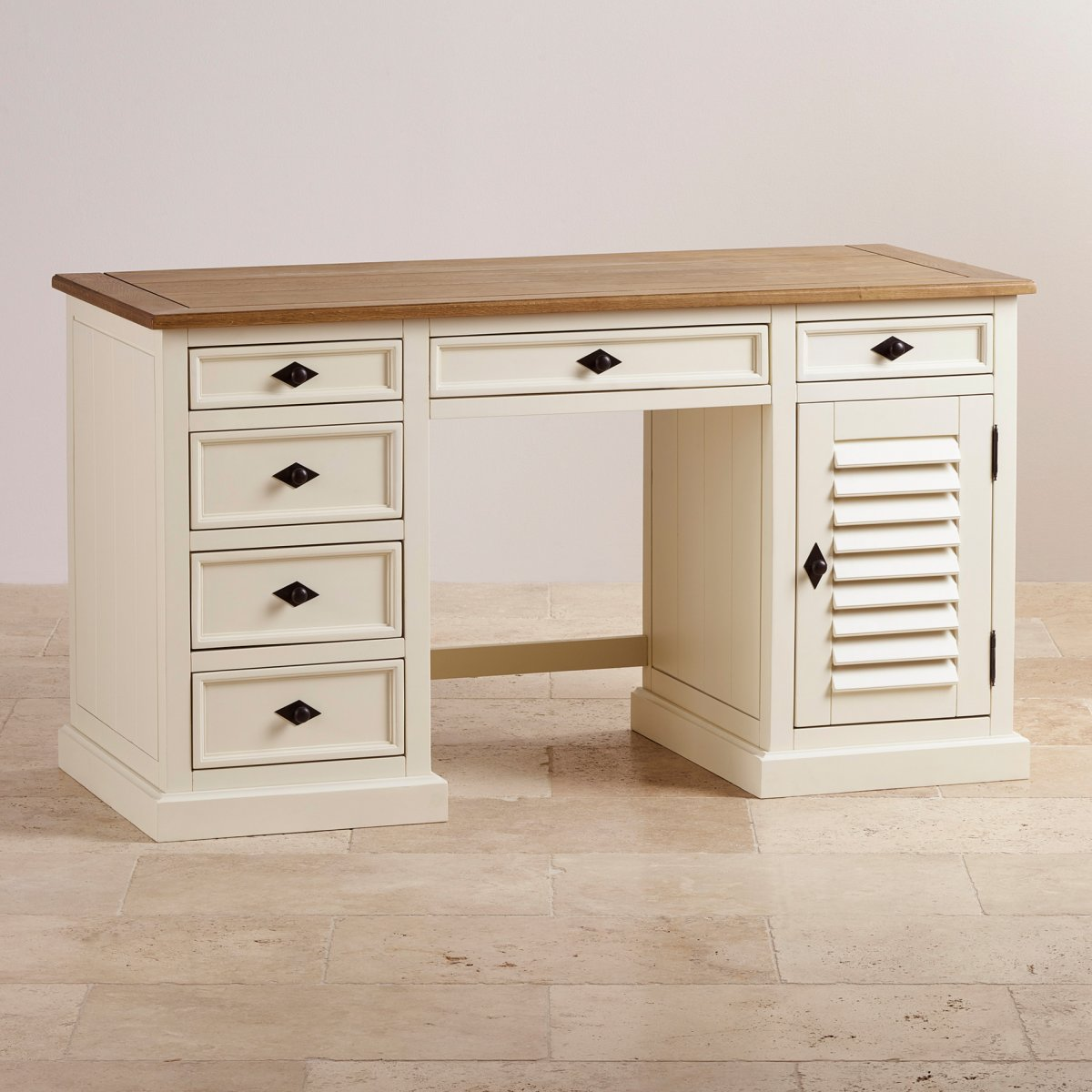 Shutter Cream Painted Computer Desk With Brushed Oak Top