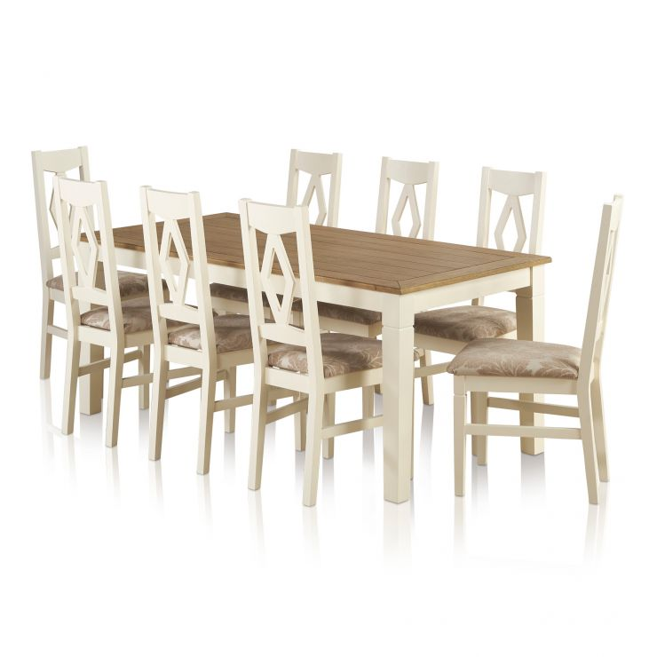 Shutter Dining Table Set Ft Table Patterned Beige Chairs - 6ft dining table and chairs