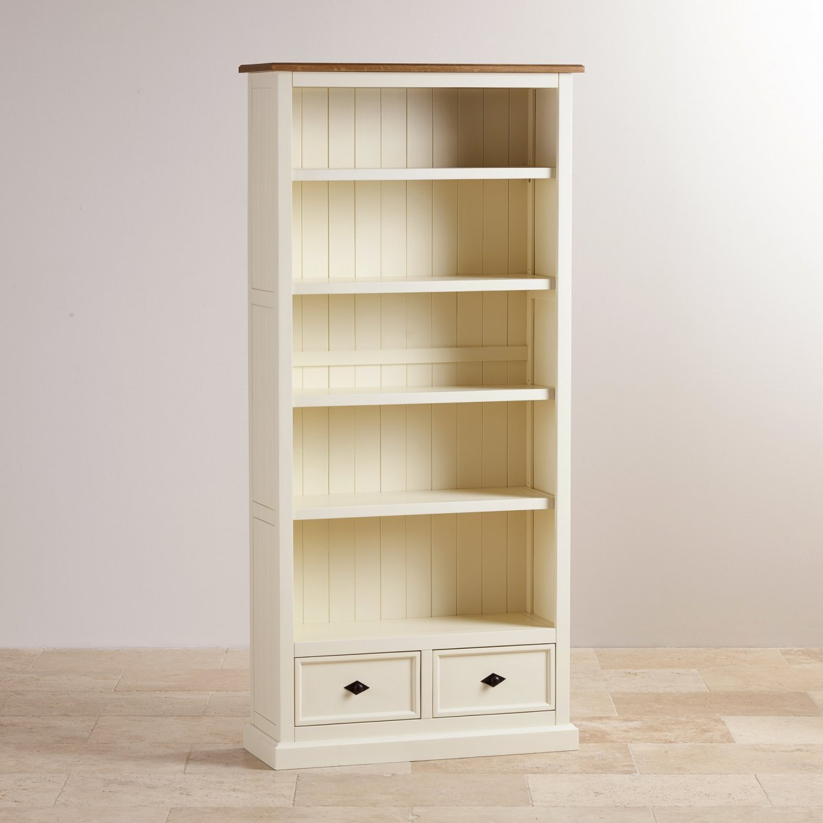 Shutter Cream Painted Tall Bookcase with Brushed Oak Top