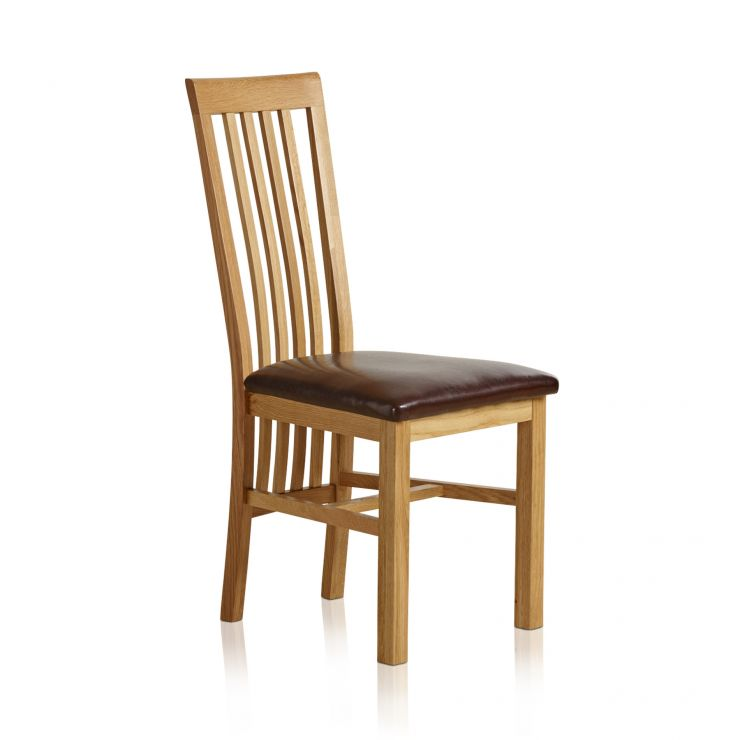 225 & Slat Back Natural Solid Oak and Brown Leather Dining Chair