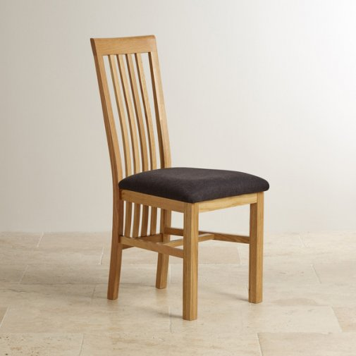 Slat Back Natural Solid Oak and Plain Black Fabric Dining Chair