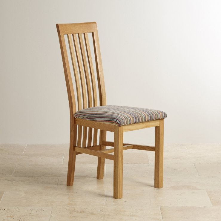 Slat Back Natural Solid Oak and Striped Multi-coloured Fabric Chair