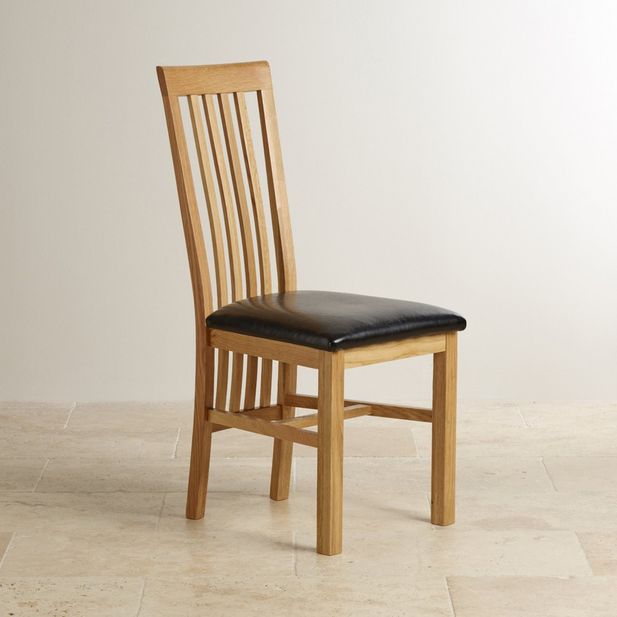 Slat Back Natural Solid Oak Dining Chair - Black Leather