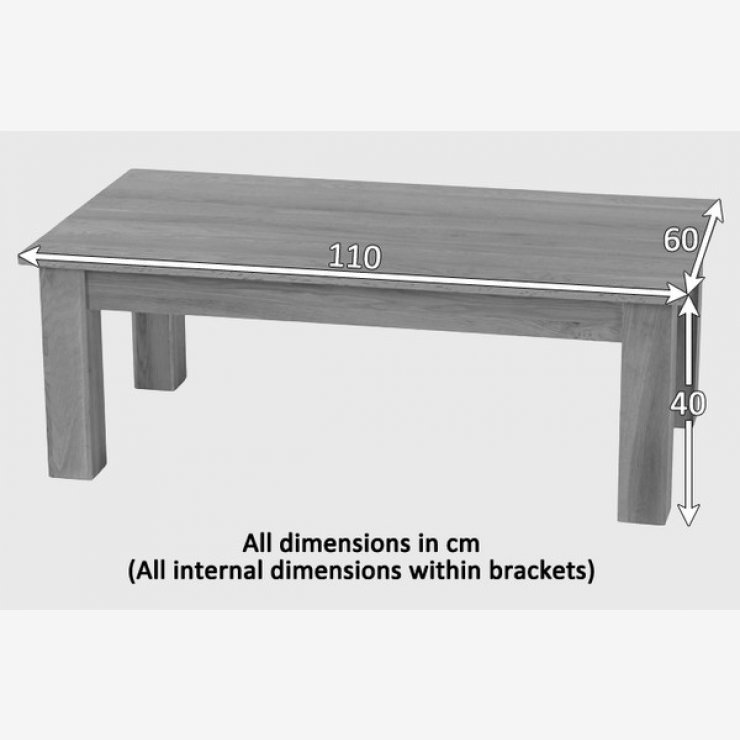 Coffee Table Minimalist Retro: Natural Solid Oak Minimalist Coffee Table By Oak Furniture