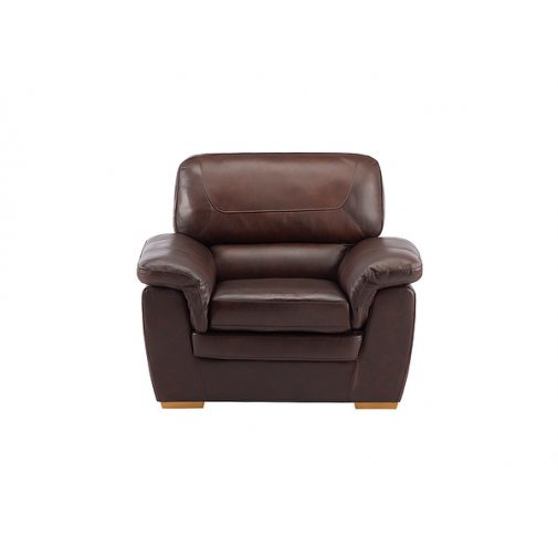 Spencer Armchair - Brown Leather with Rustic Oak Feet