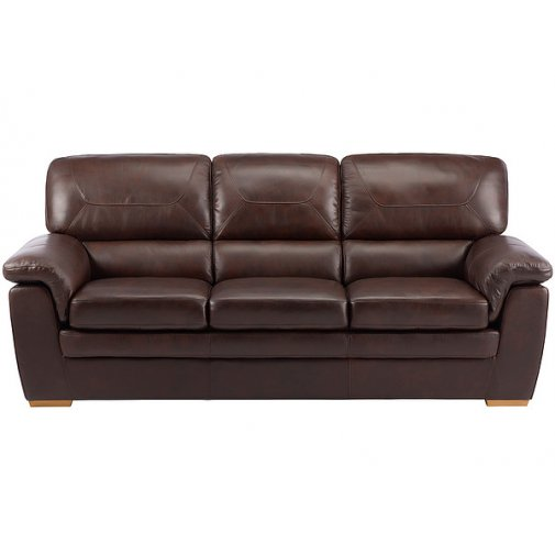 Spencer 3 Seater Sofa - Brown Leather with Rustic Oak Feet