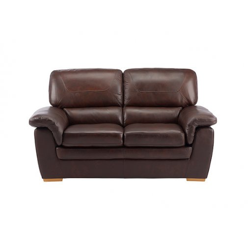 Spencer 2 Seater Sofa - Brown Leather with Rustic Oak Feet