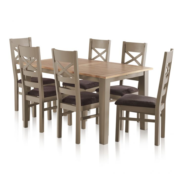 St. Ives Natural Oak and Grey Painted 5ft Extending Dining ...