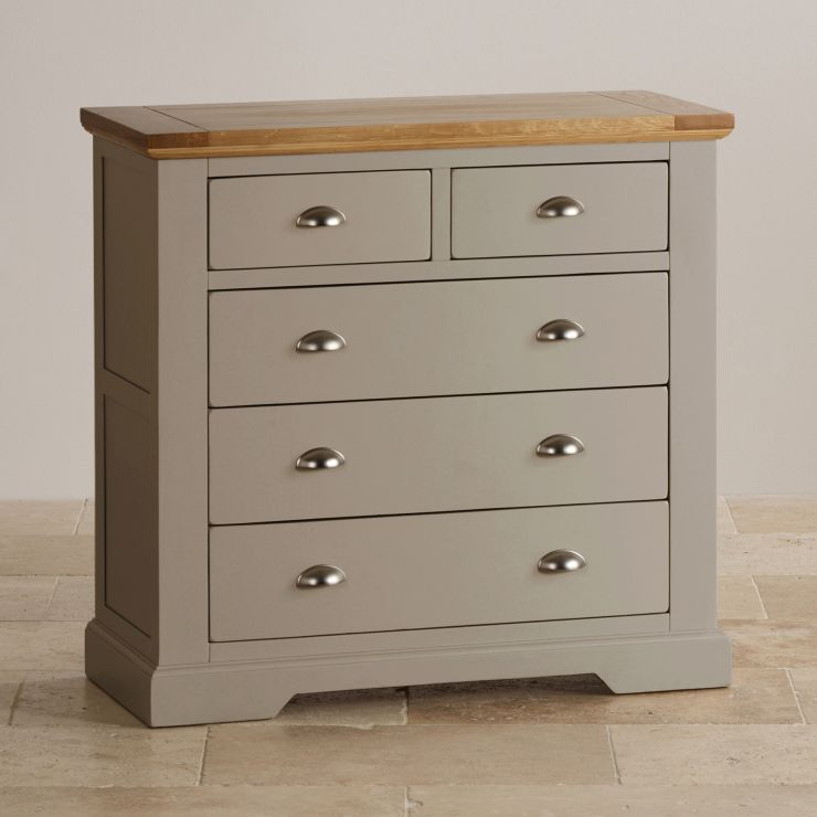 classic fit 168a3 f7ac7 St Ives Natural Oak and Light Grey Painted 2+3 Drawer Chest