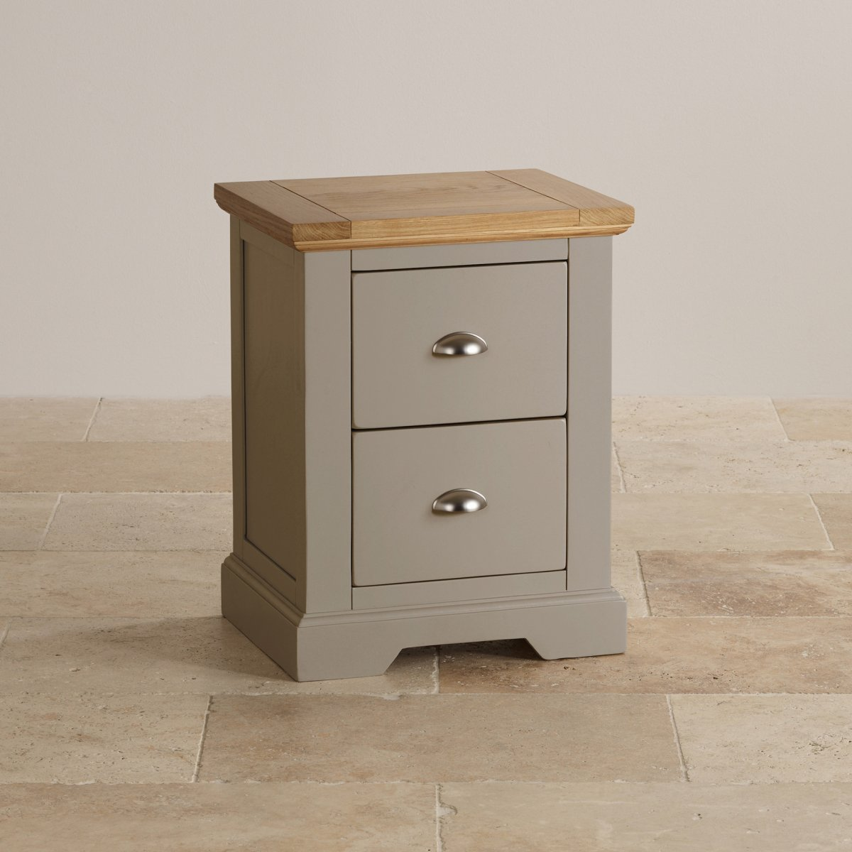 St Ives 2 Drawer Grey Bedside Table With Brushed Oak Top
