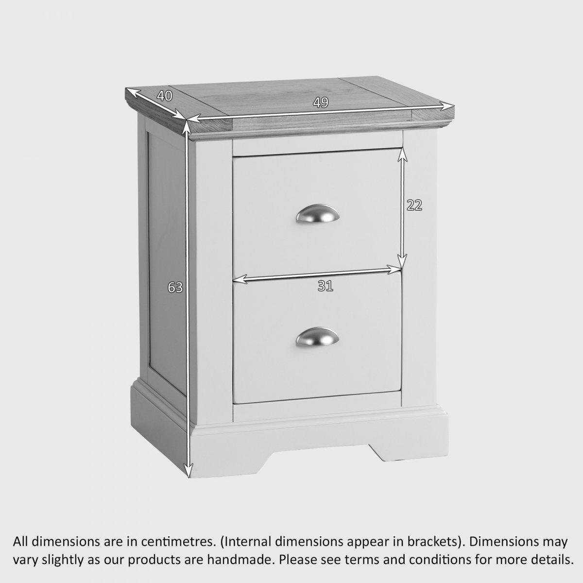 st ives 2 drawer grey bedside table with brushed oak top. Black Bedroom Furniture Sets. Home Design Ideas