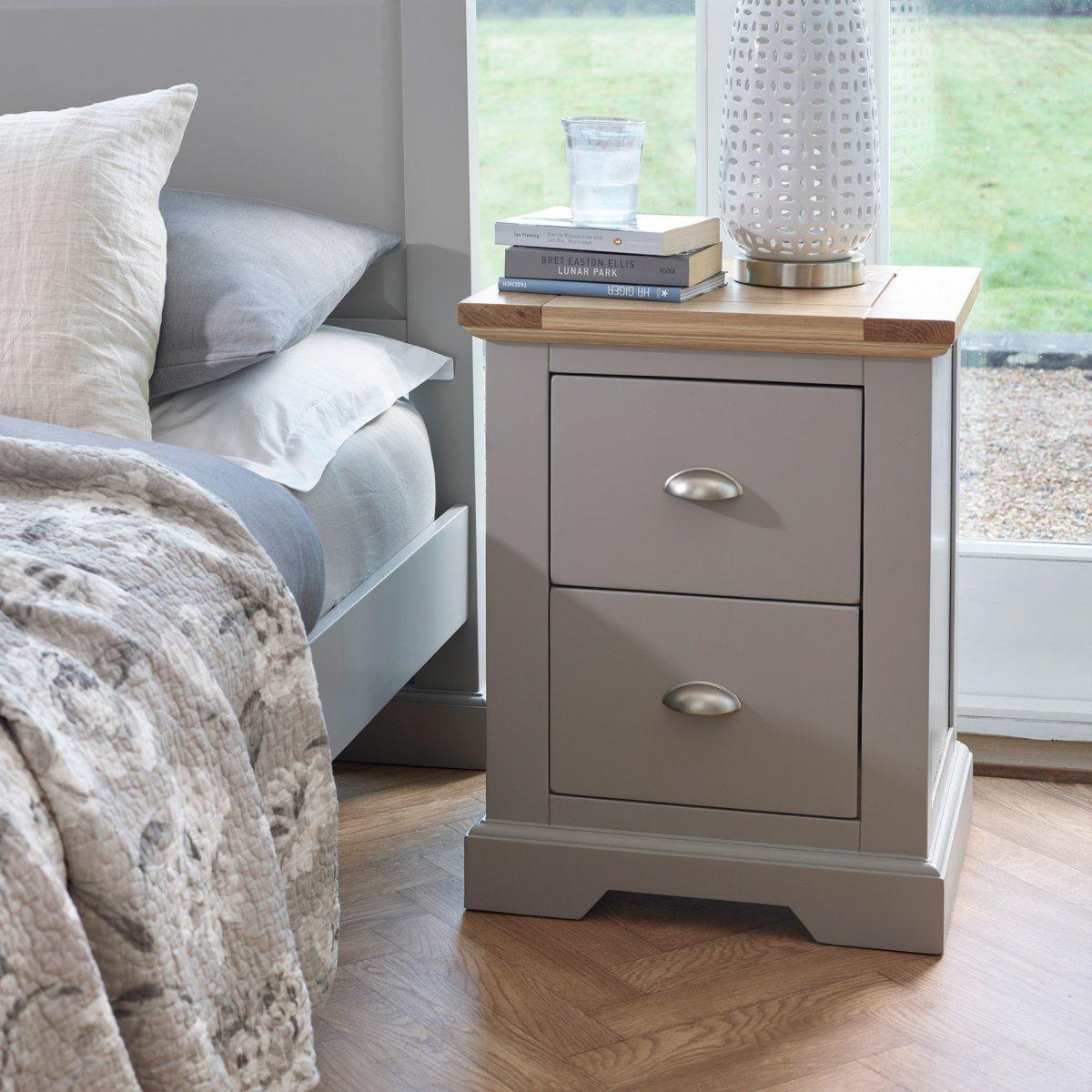 St Ives 2 Drawer Grey Bedside Table with Brushed Oak Top