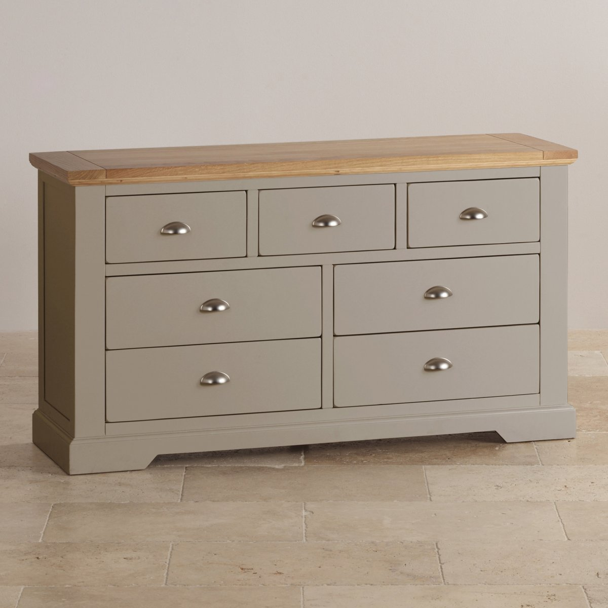 St Ives 3 4 Grey Chest Of Drawers With Brushed Oak Top