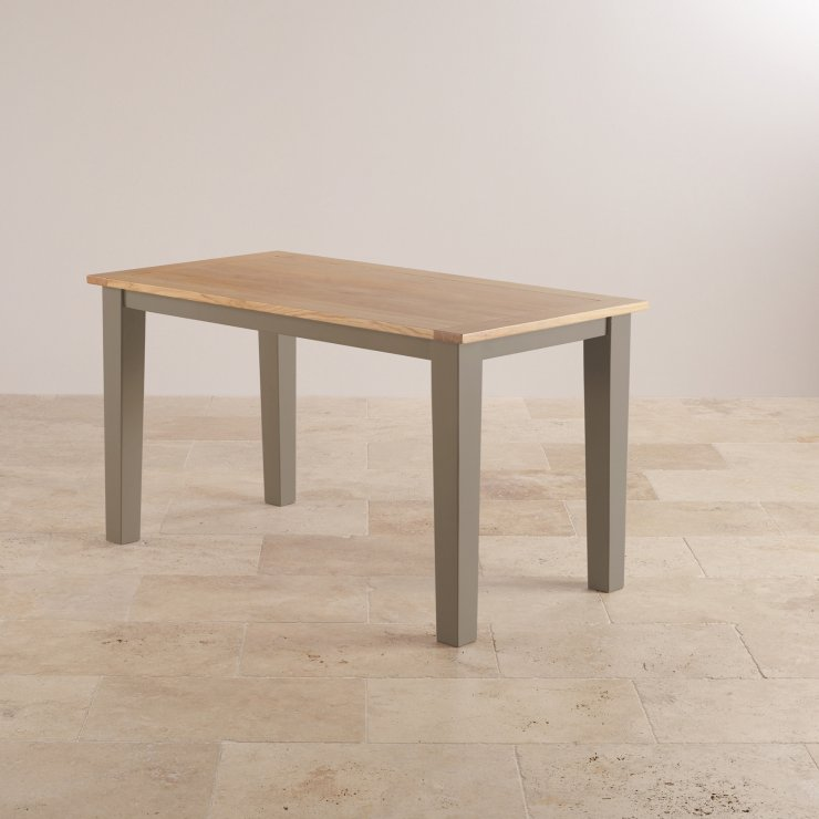 "St Ives Natural Oak and Light Grey Painted 4ft 6"" x 2ft 6"" Dining Table"