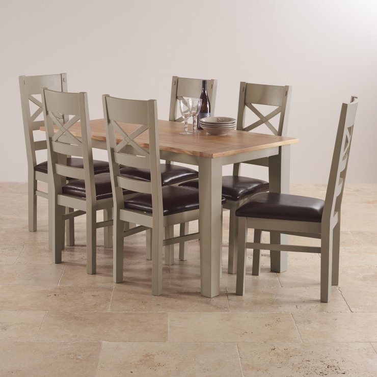 St Ives Light Grey Painted Acacia Dining Table + 6 Leather ...