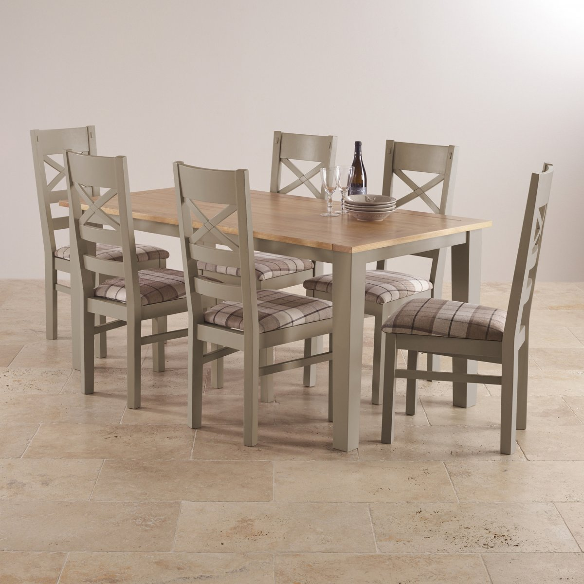 St Ives Dining Set In Grey Painted Acacia: Table + 6 Chairs