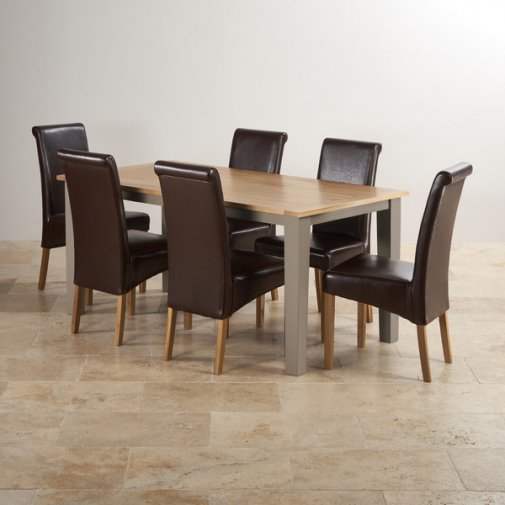 "St Ives Natural Oak and Light Grey Painted 5ft 6"" Dining Table with 6 Leather Chairs"