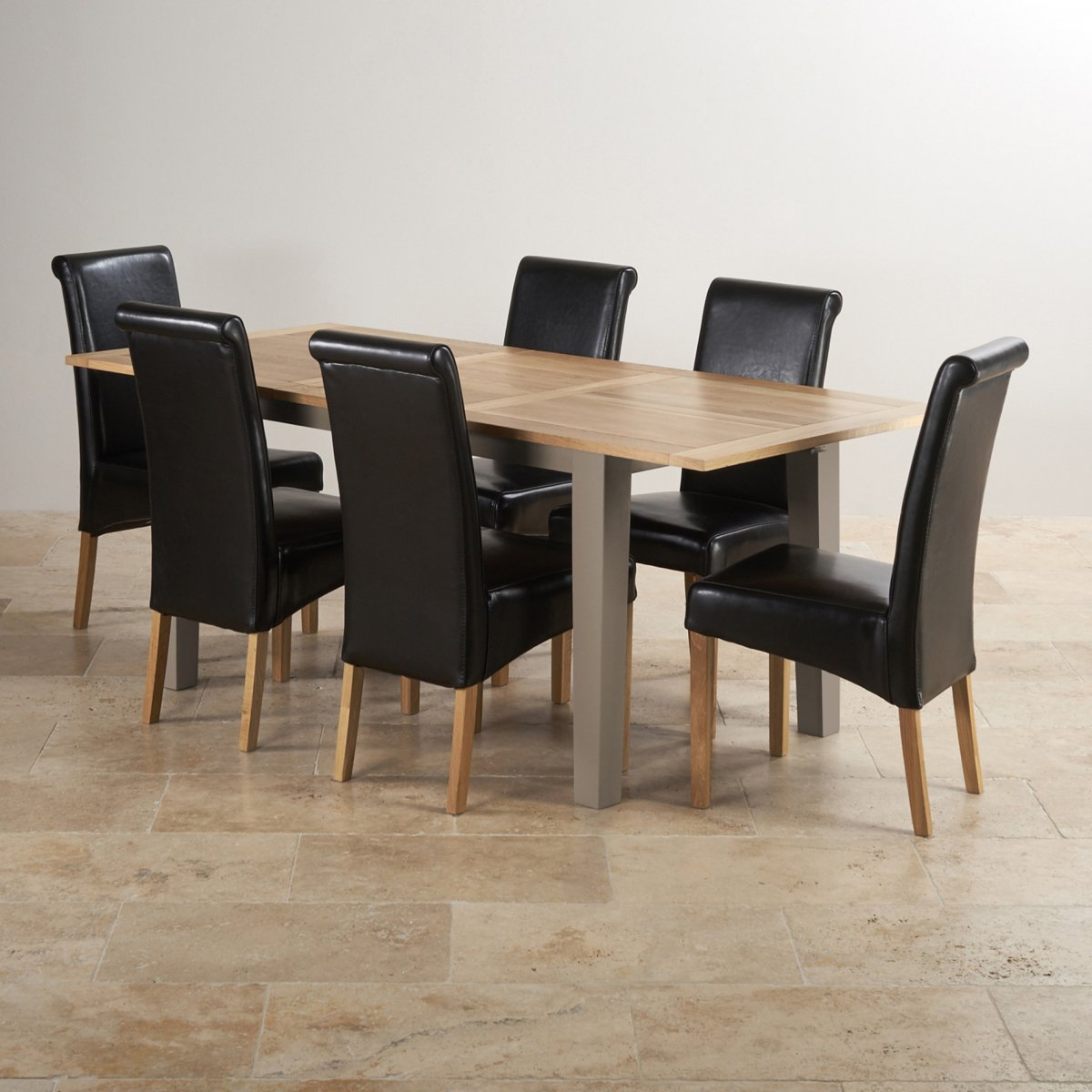 Light Oak Dining Room Table And Chairs: Painted Table In Acacia + 6 Leather