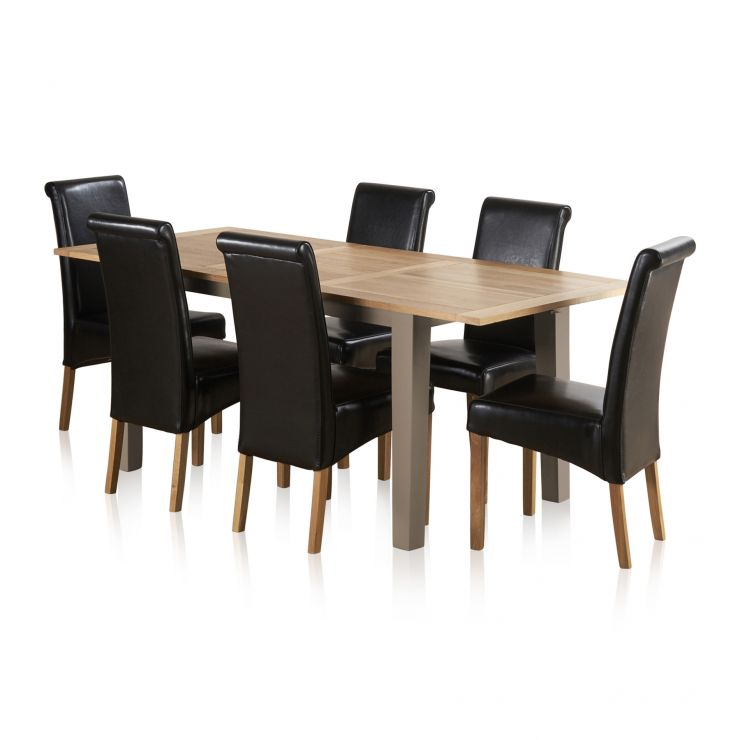 7403e06174c St Ives Natural Oak and Light Grey Painted 5ft Extending Dining Table + 6  Leather Chairs