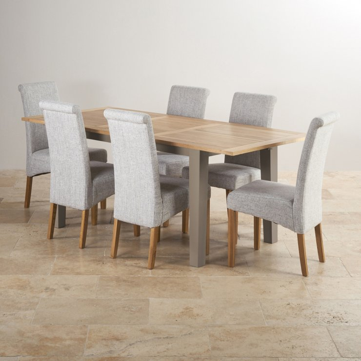 St Ives Natural Oak and Light Grey Painted 5ft Extending Dining Table With 6 Fabric Chairs
