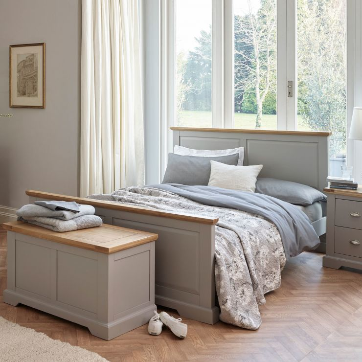 St Ives King-Size Grey Bed with Brushed Oak Top