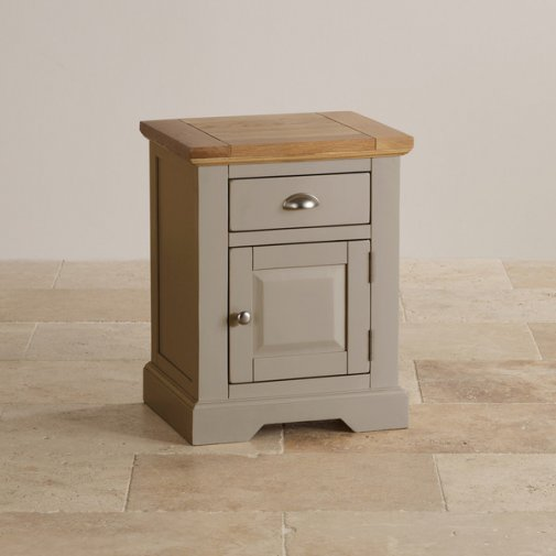St Ives Natural Oak and Light Grey Painted Bedside Table