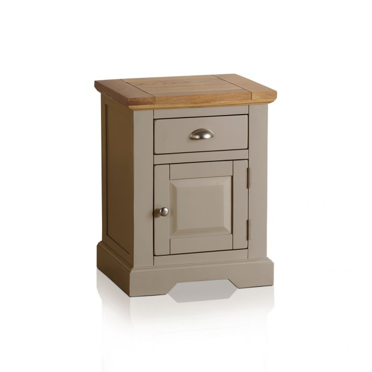 brand new de7d5 524df St Ives Natural Oak and Light Grey Painted Bedside Table