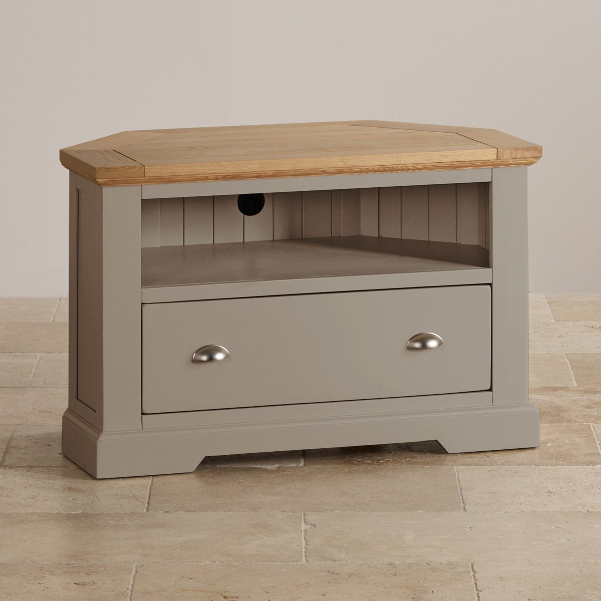 st ives corner tv unit in grey painted acacia with oak top. Black Bedroom Furniture Sets. Home Design Ideas