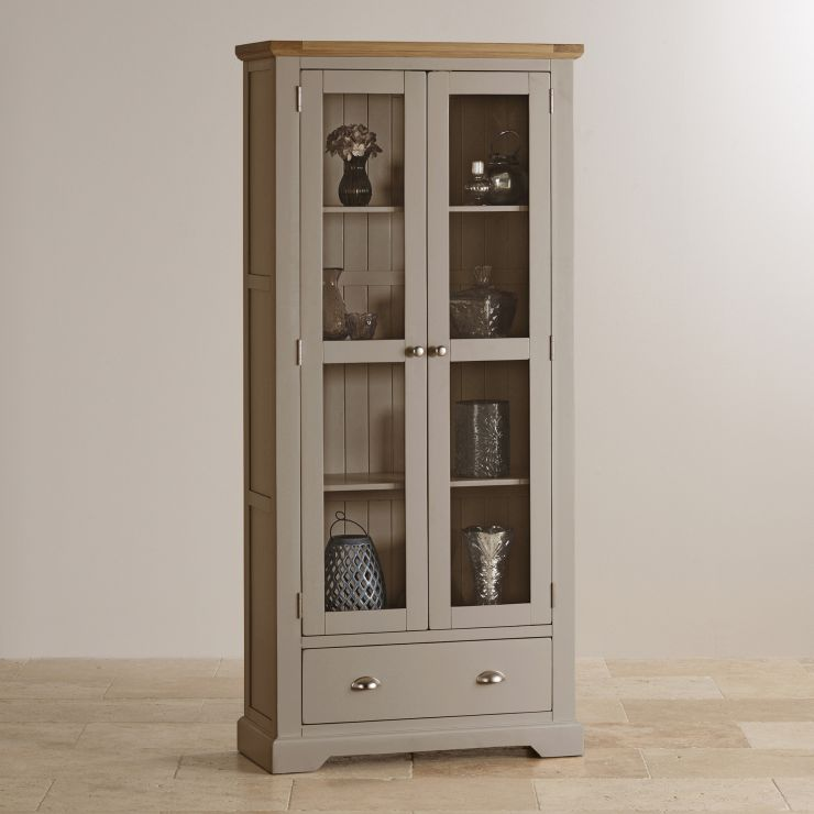 Painting Oak Cabinets Gray: St Ives Display Cabinet In Light Grey Painted Natural Oak