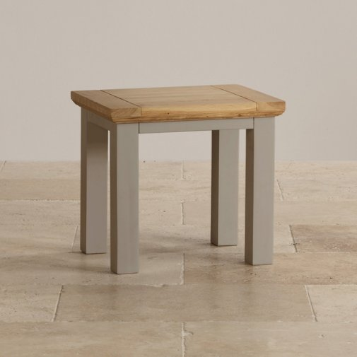 St Ives Natural Oak and Light Grey Painted Dressing Table Stool