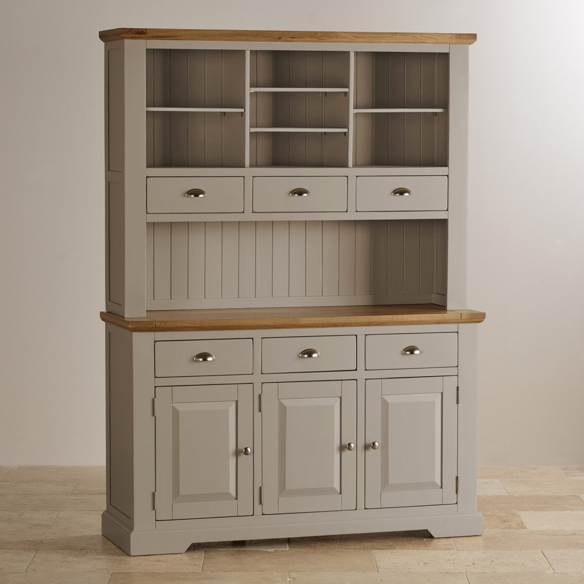 St Ives Large Grey Dresser With Brushed Oak Top