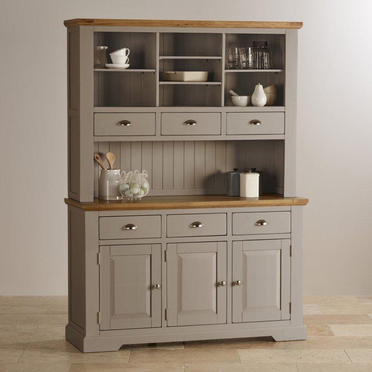 Natural Oak And Light Grey Painted Large Dresser
