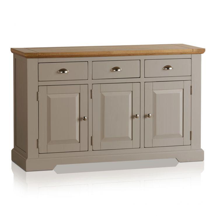 St Ives Large Grey Sideboard In Solid Hardwood Brushed