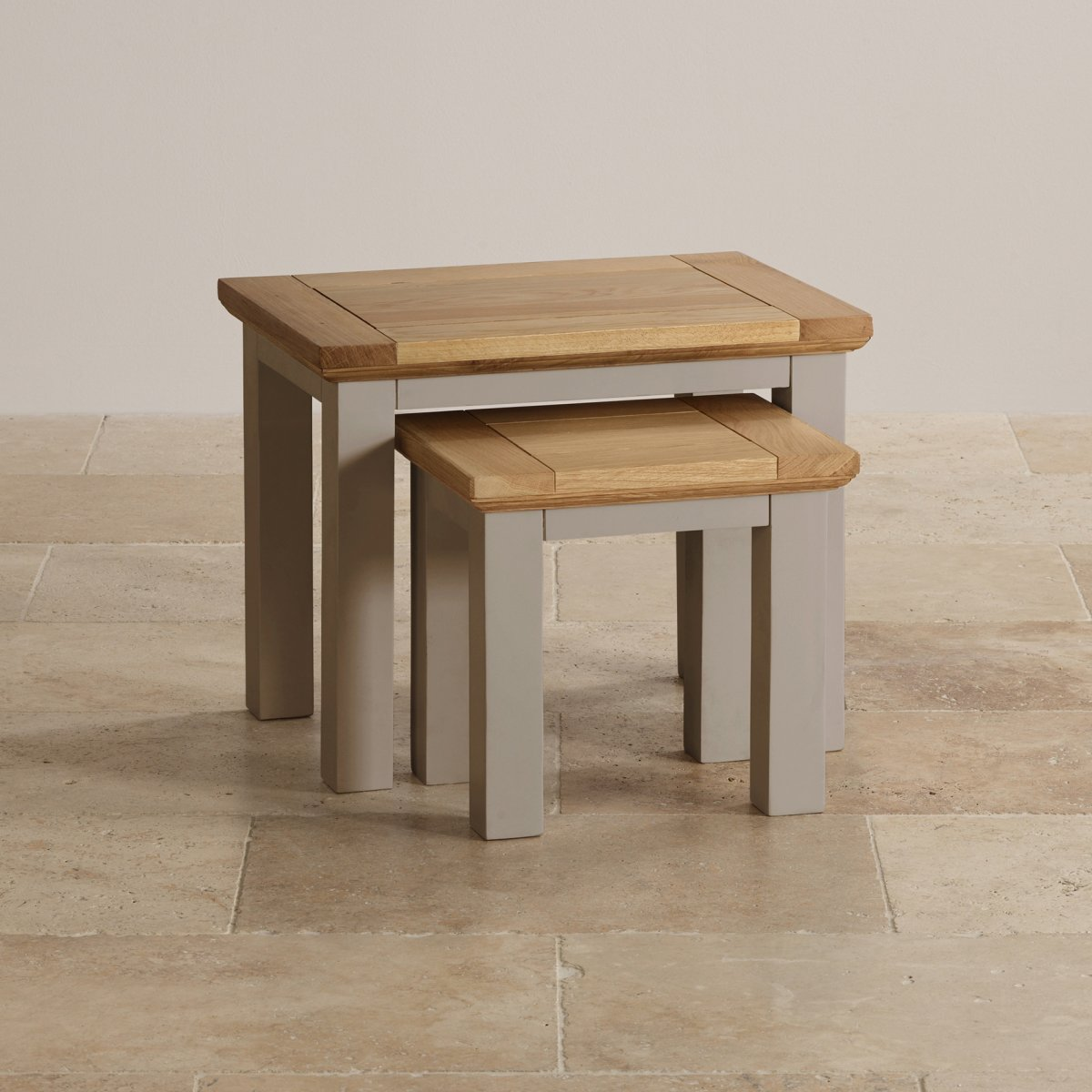 natural oak and light grey painted nest of 2 tables. Black Bedroom Furniture Sets. Home Design Ideas